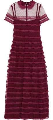 RED Valentino Picot-Trimmed Point D'esprit Midi Dress