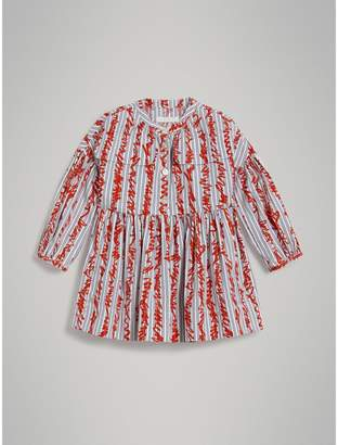 Burberry Scribble Stripe Cotton Dress , Size: 14Y