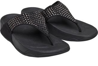 FitFlop Womens Glitzie Toe Post Sandals Black