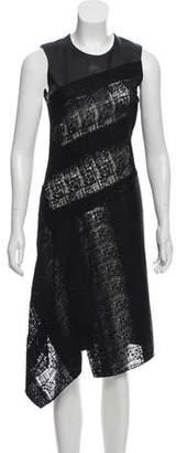 Reed Krakoff Leather-Trimmed Sleeveless Dress