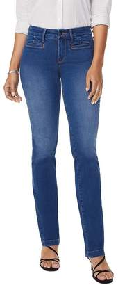 NYDJ Marilyn Tailored Welt-Pocket Straight Jeans in Clean Napier