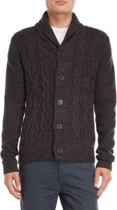 Fresh Brand Shawl Collar Cable Knit Cardigan