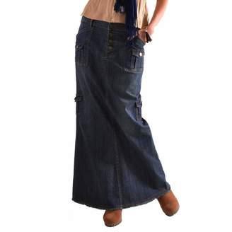 f03fb44ed8 Hunzed women dress Hunzed Women【Cowboy Skirt】 Women's A-Line Fishtail  Skirts Button