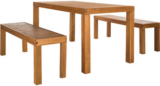 Safavieh Dario 3 Piece Dining Set With 59In L Table And 2 Backless Benches