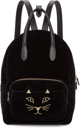 Charlotte Olympia Black Velvet Feline Backpack