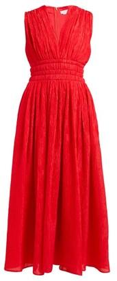 Gabriela Hearst Rotlein Crinkled Silk Midi Dress - Womens - Red