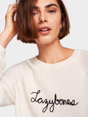 White + Warren 'Lazybones' Embroidered Cashmere Sweatshirt