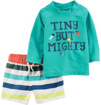 "Carter's Baby Boy Tiny but Mighty"" Rash Guard & Striped Swim Shorts Set"