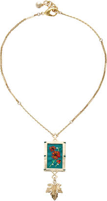 Lulu Frost Villa Hand-Embroidered Gold-Plated Brass Necklace