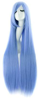styling/ Origial DE lamp Long Straight Cosplay Wigs Side Oblique Bangs 100cm White Green Pink Blue Black