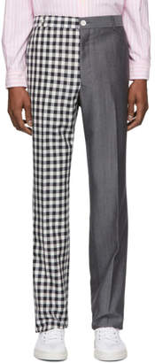 Thom Browne Navy and Grey Gingham Funmix Chino Trousers