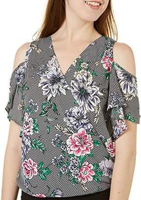Amy Byer A. Byer Juniors Vibrant Sleeveless Flower Detail Blouse