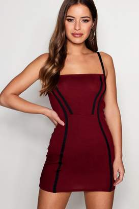 boohoo Petite Contrast Panel Bodycon Dress