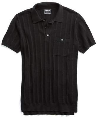 Todd Snyder Cotton Silk Ribbed Knit Polo in Black
