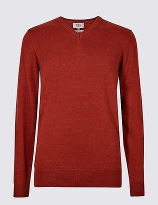 Marks and Spencer Pure Cotton V-Neck Jumper