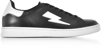 Neil Barrett Black and White Leather Thunderbolt Tennis Sneakers
