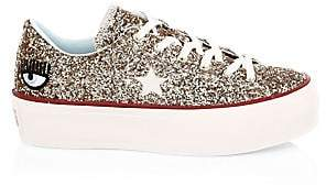 Converse Women's Chiara Ferragni One Star Glitter Leather Platform Sneakers