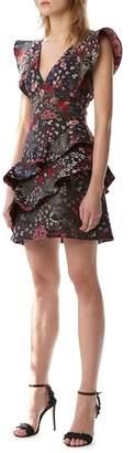 ML Monique Lhuillier Ruffle Cocktail Dress