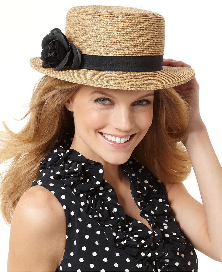 Nine West Hat, Packable Straw Boater