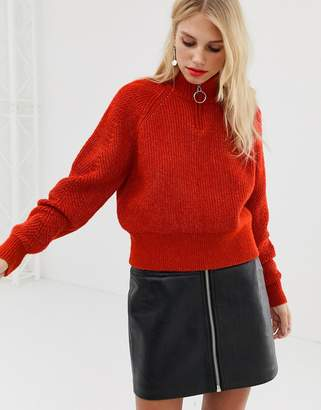 Pieces ribbed zip up sweater in red