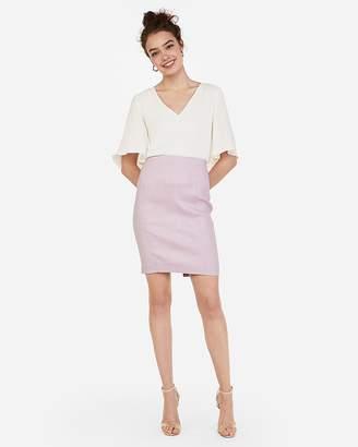 f8009cb8a97e Express High Waisted Linen-Blend Seamed Pencil Skirt