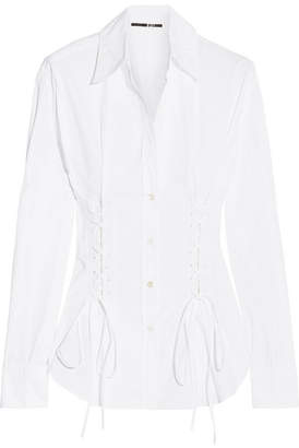 McQ Alexander McQueen - Lace-up Cotton Shirt - White $450 thestylecure.com