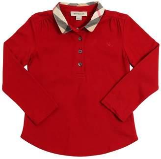 Burberry Cotton Piqué Polo Shirt W/ Check Collar