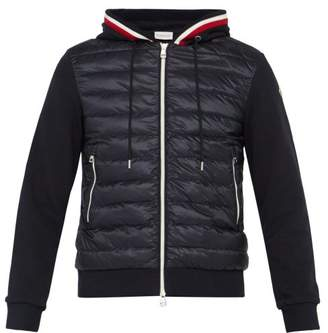 Moncler Down Filled Zip Through Hooded Cotton Track Jacket - Mens - Navy