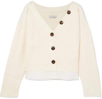 REJINA PYO Ella Off-the-shoulder Cotton-trimmed Ribbed-knit Cardigan - Ivory