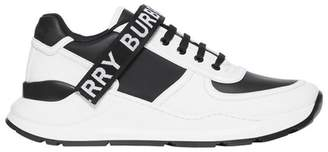 Logo Detail Leather And Nylon Sneakers