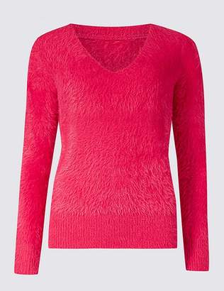 Marks and Spencer Faux Fur Yarn V-Neck Jumper
