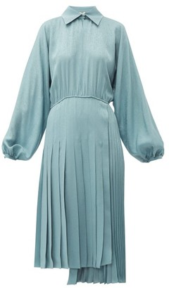 Fendi Asymmetric Pleated Satin Dress - Womens - Blue