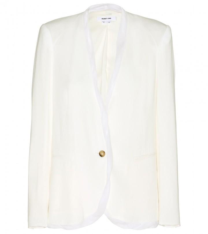 Helmut Lang Chiffon-trimmed crepe blazer