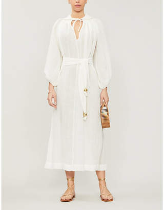 Lisa Marie Fernandez Bishop-sleeve gauze maxi dress