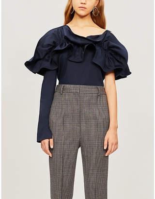 SILVIA TCHERASSI Orazia one-sleeve ruffled stretch-cotton top