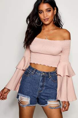 boohoo Crinkle Shirred Flare Sleeve Crop