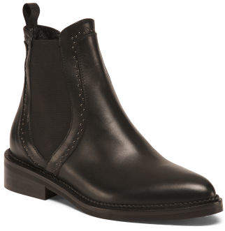 Made In Italy Studded Leather Chelsea Boots