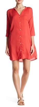 Allen Allen Rayon Challis Henley Dress $138 thestylecure.com