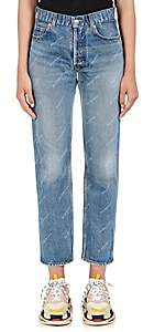 Balenciaga Women's Logo-Print Straight Jeans - Blue