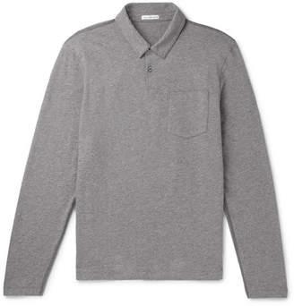 James Perse Melange Loopback Cotton-Jersey Polo Shirt - Men - Anthracite