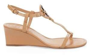 Tory Burch Women's Miller Leather Wedge Sandals - Dusty Cypress - Size 5