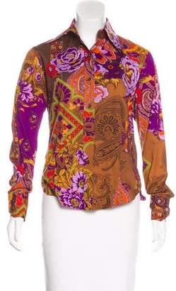 Etro Floral Print Button-Up Top