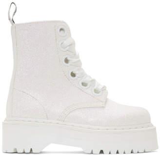 Dr. Martens White Molly Glitter Platform Boots