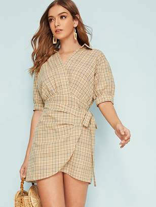 Shein Plaid Asymmetrical Hem Wrap Knotted Dress