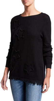 LISA TODD Multi Fray Stars Sweater with Frayed Hem