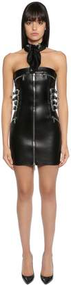 DSQUARED2 Western Buckles Leather Strapless Dress