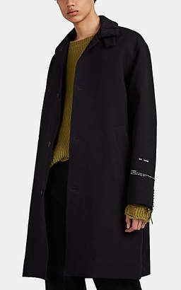 Song For The Mute Men's Sherpa-Trimmed Gabardine Three-Button Coat - Black