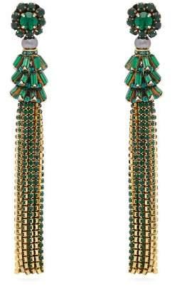 Etro Crystal Embellished Tassel Earrings - Womens - Green
