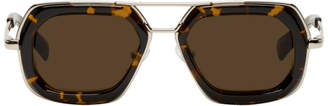 Dries Van Noten Tortoiseshell and Silver 173 C6 Sunglasses