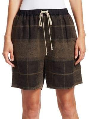 Rick Owens Plaid Drawstring Boxer Shorts